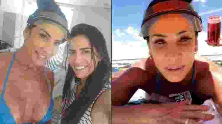 Scheila Carvalho já com o biquíni de fita adesiva, ao lado da profissional que acompanhou seu bronzeamento, e depois tomando sol - Reprodução/Instagram - Reprodução/Instagram