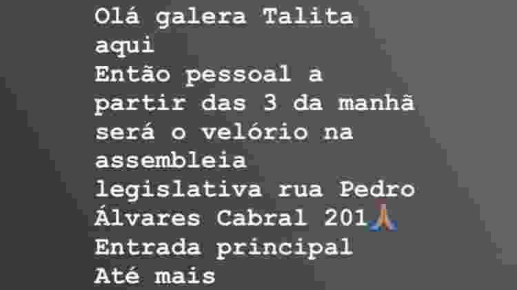 Filha anuncia velório de Deise Cipriano na Assembleia Legislativa do Estado de São Paulo - Reprodução/Instagram - Reprodução/Instagram