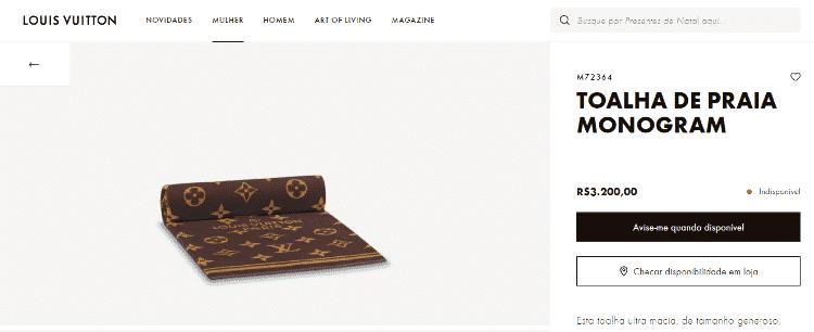 Toalha print - Reprodução / Louis Vuitton - Reprodução / Louis Vuitton