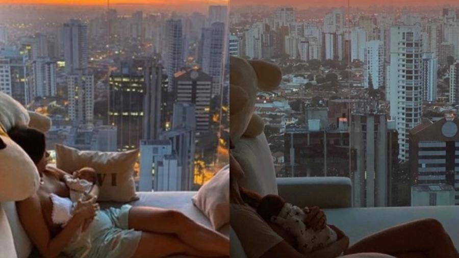 Romana Novais posta story vendo o nascer do sol com Raika hoje e com Ravi há um ano - Reprodução/ Instagram @romananovais