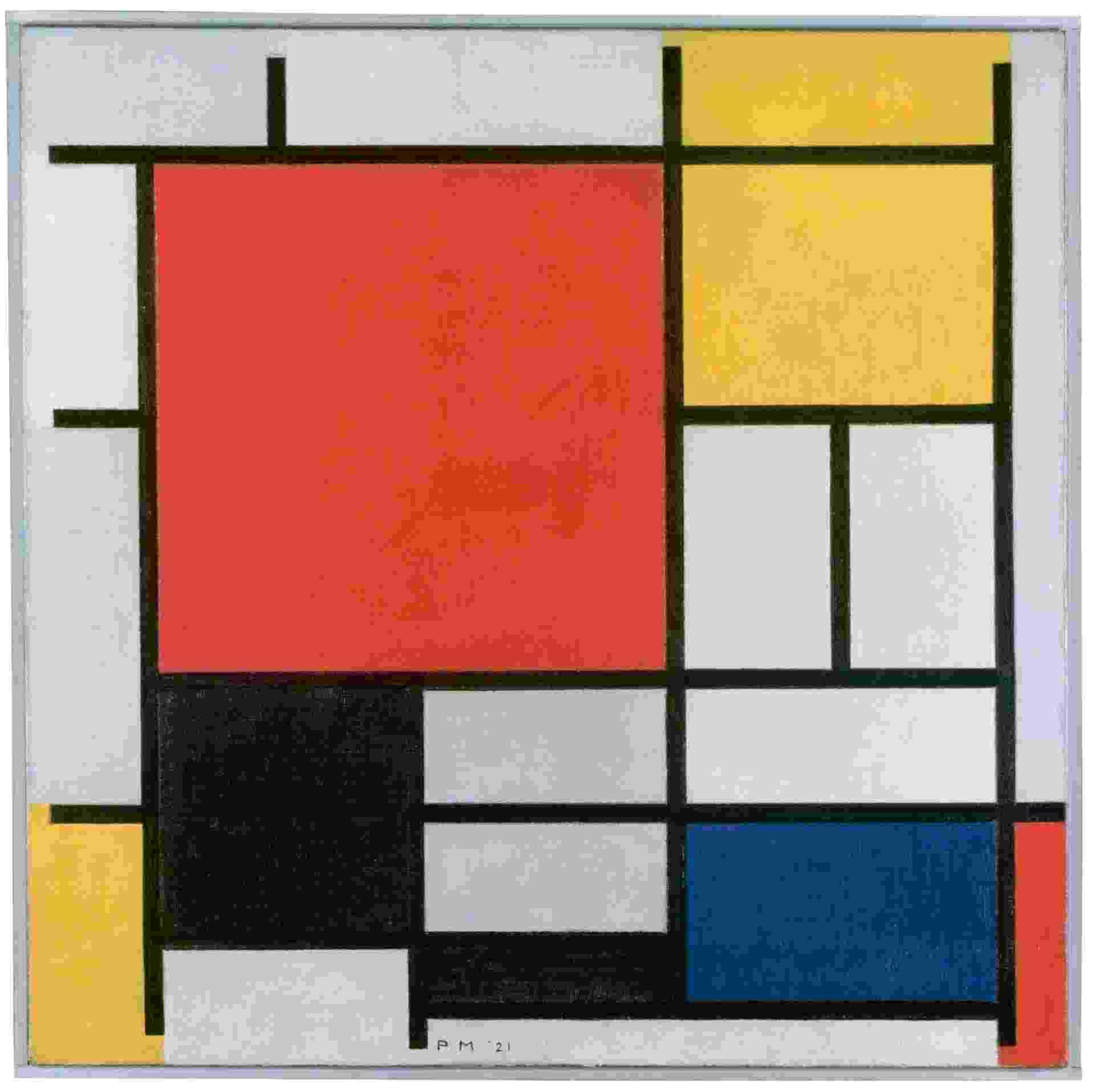 Piet Mondrian, Composição com grande plano vermelho, amarelo, preto, cinza e azul (1921) - Gemeentemuseum, Den Haag, Holanda