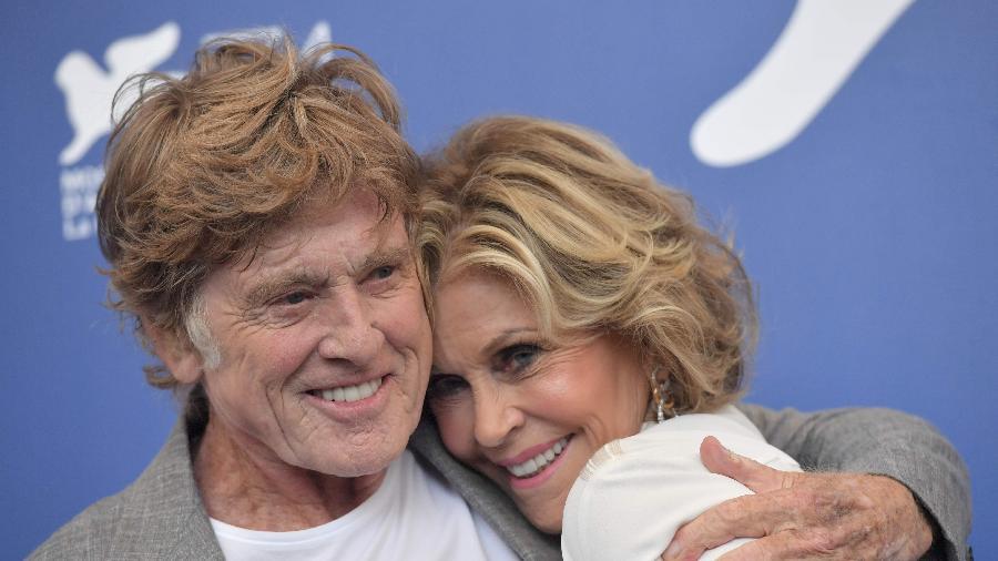 Robert Redford e Jane Fonda no Festival de Veneza - AFP/TIZIANA FABI