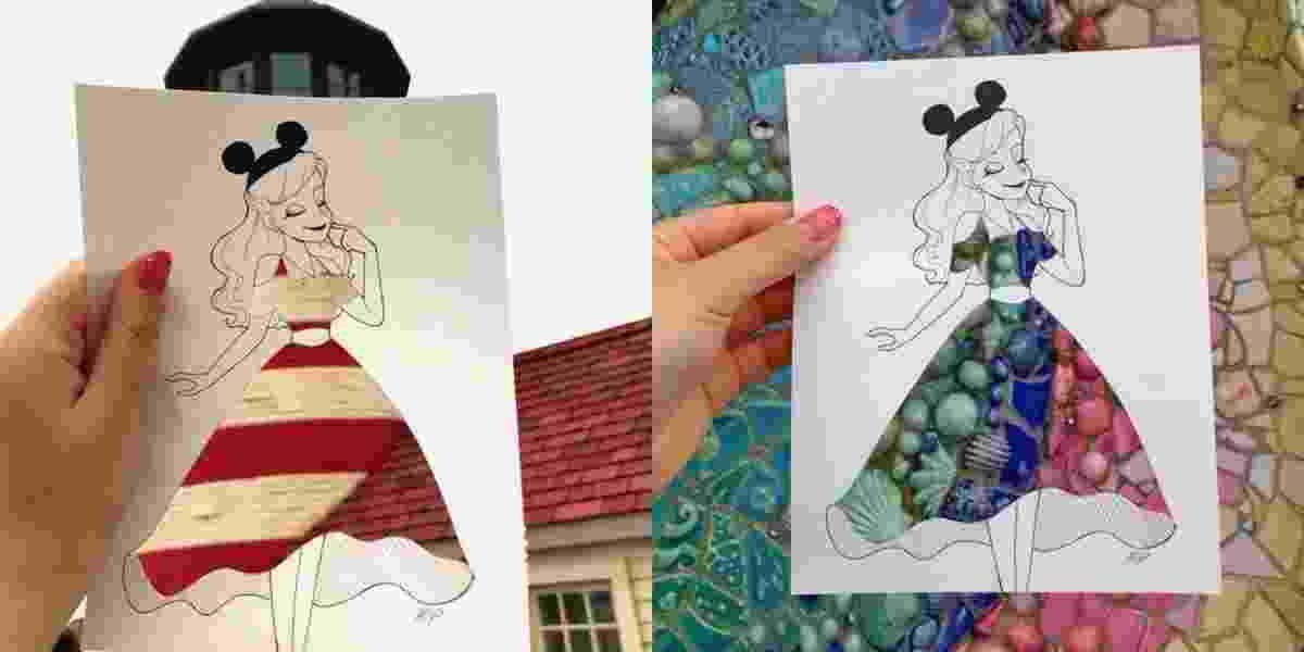 Uma artista criativa chamou a atenção nas redes sociais. Usando apenas um vestido recortado em papel, ela foi capaz de criar estampas incríveis e se tornar viral no Twitter - Reprodução/Twitter.com/Hiyo_ihanatD