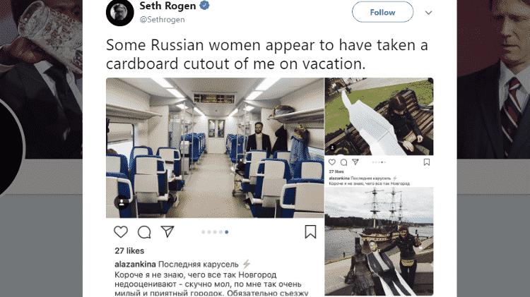 Seth Rogen de papelão pela Rússia - Reprodução/Twitter - Reprodução/Twitter