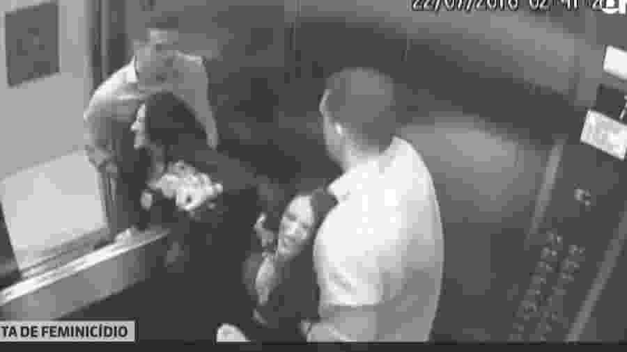 Imagens de câmeras de segurança do prédio mostram agressões do marido suspeito pela morte da advogada Tatiane Spitzner, que caiu do quarto andar de um prédio em Guarapuava - (Foto: Reproducao/G1)