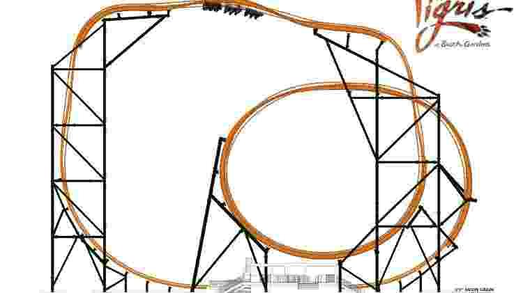 Projeção mostra como é a estrutura da montanha-russa Tigris - Divulgação/SeaWorld Parks & Entertainment - Divulgação/SeaWorld Parks & Entertainment