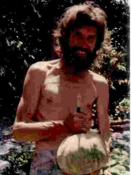 Ron e sua plantação de abóboras na ilha deserta - Arquivo pessoal - Arquivo pessoal
