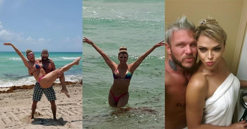 10.jul.2015 - Léo Áquilla e o noivo, Chico Campadello, estão curtindo uma viagem íntima na Flórida, nos Estados Unidos. Presente de noivado dado para a amada, o casal parece se divertindo em duas fotos e, na última imagem, Léo cozinha para Chico depois da praia. Os dois passaram por Orlando, Miami e Miami Beach