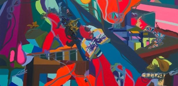 """Obra """"My Last Platform"""" (2013), pintura do artista Franz Ackermann, em cartaz na mostra """"Zeitgeist - A arte da nova Berlim"""" - Eduardo Ortega/Divulgação"""