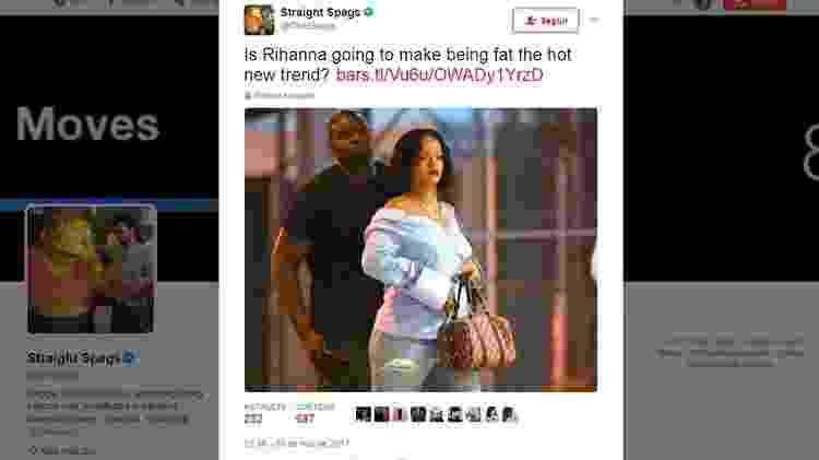 Post de blogueiro sobre Rihanna - Reprodução/Twitter - Reprodução/Twitter