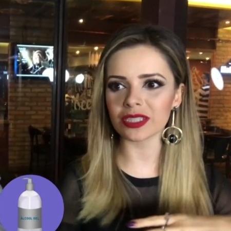 Sandy diz que tem mania de limpar sempre as mãos com álcool gel - Reprodução/TV Globo
