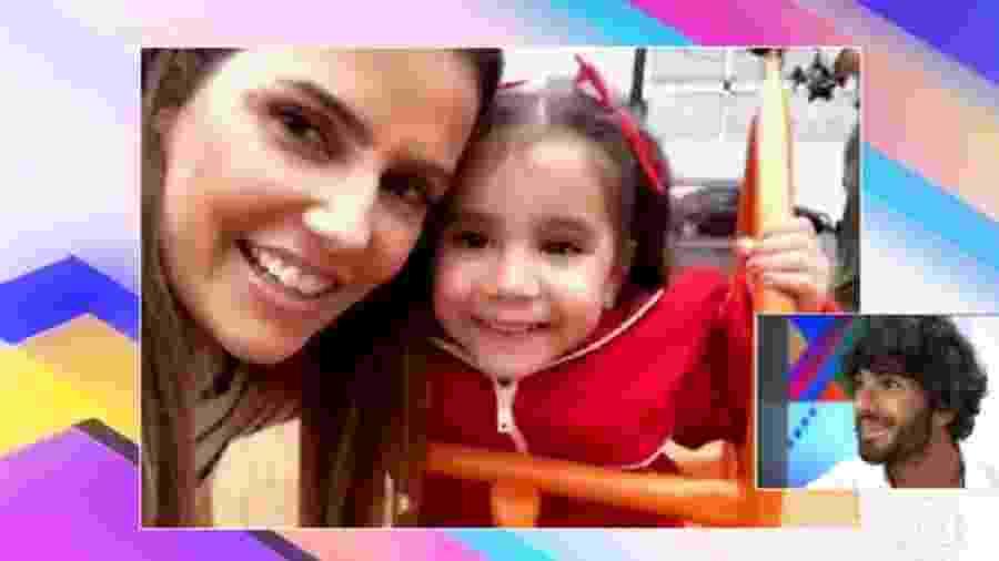 """HUgo Moura baba pela filha e pela mulher durante participação no """"Vídeo Show"""" - Reprodução/TV Globo"""