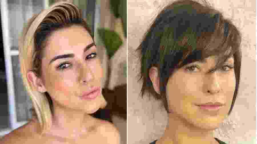 Fernanda Paes Leme antes e depois de voltar a ser morena e cortar os cabelos - Reprodução/Instagram