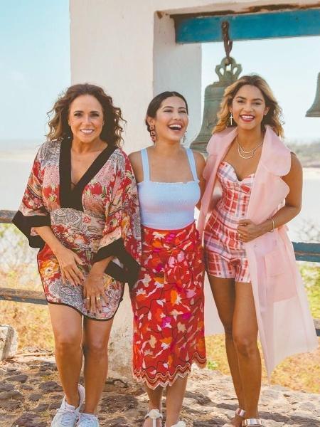 Daniela Mercury, Thaynara OG e Lucy Alves no programa do GNT - Divulgação