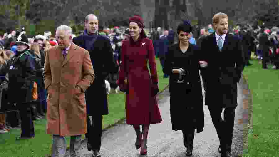 Charles, William, Kate, Meghan e Harry vão à missa no Natal de 2018 - AFP