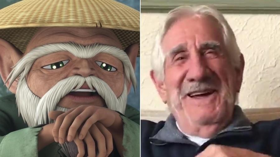 Mestre Ancião, personagem de Os Cavaleiros do Zodíaco, e seu dublador, Araken Saldanha - Montagem/Reprodução/Netflix/Facebook