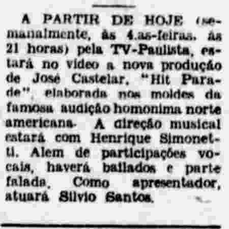 Jornal anuncia a primeira aparição de Silvio Santos na TV - Reprodução