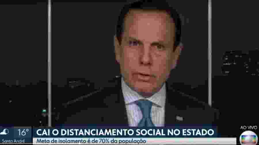 João Doria fala em tomar medidas mais rígidas se isolamento social não for respeitado durante o feriado de Páscoa - Reprodução/TV Globo