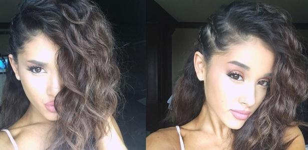 Ariana Grande, que mantinha os fios presos em um rabo de cavalo, mostrou os cachos no Instagram - Reprodução/Instagram/@arianagrande