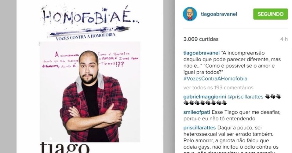10.mar.2016 - Tiago Abravanel faz post contra a homofobia