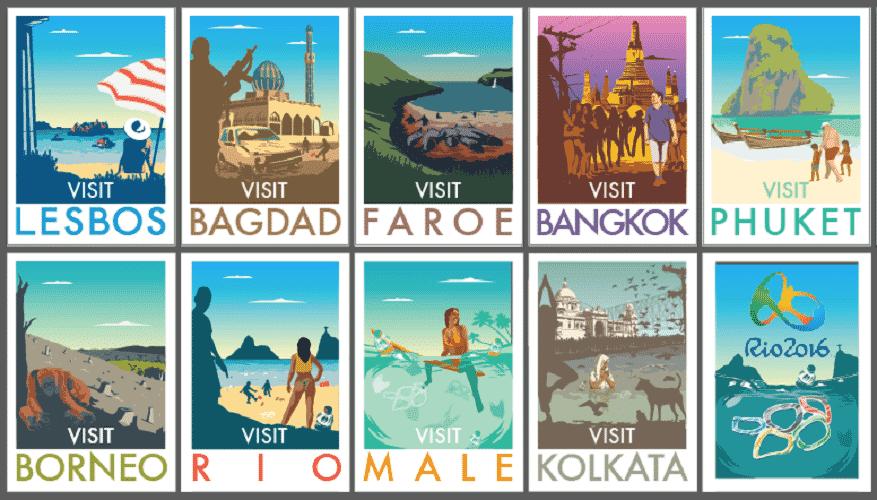 Montagem dos cartões-postais da vida real - Divulgação/Monk HF