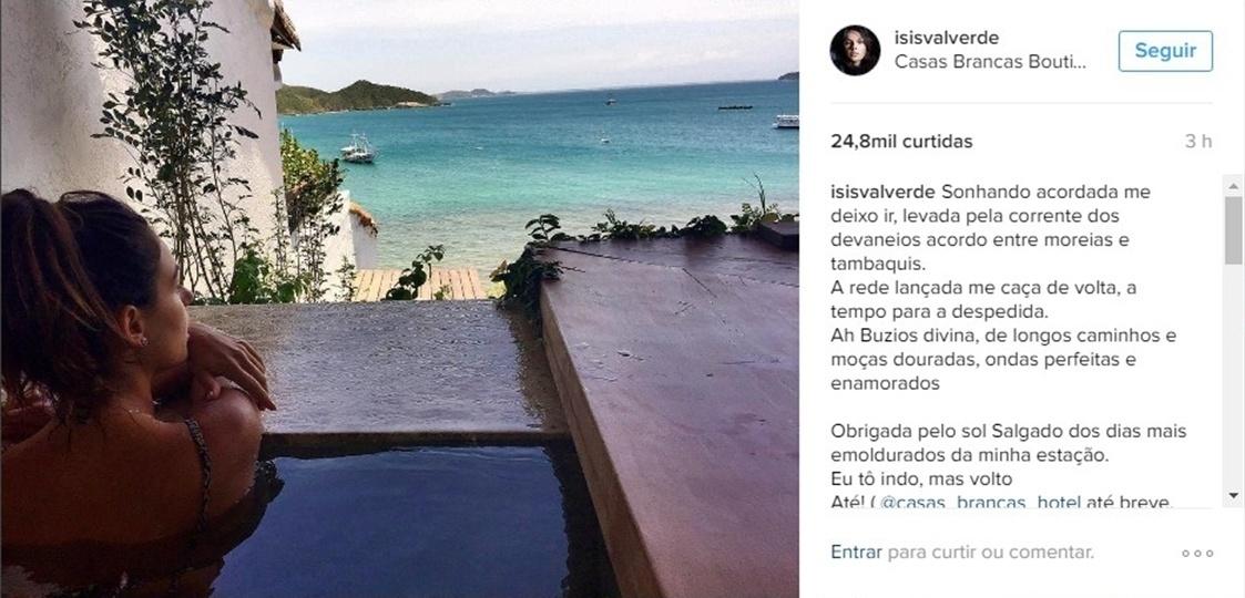 28.nov.2016 - Isis Valverde se despede de viagem para Búzios com foto em paisagem paradisíaca. A atriz passou dias na cidade acompanhada do namorado, André Resende