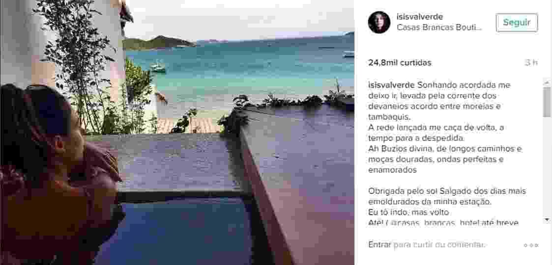 28.nov.2016 - Isis Valverde se despede de viagem para Búzios com foto em paisagem paradisíaca. A atriz passou dias na cidade acompanhada do namorado, André Resende - Reprodução/Instagram/isisvalverde