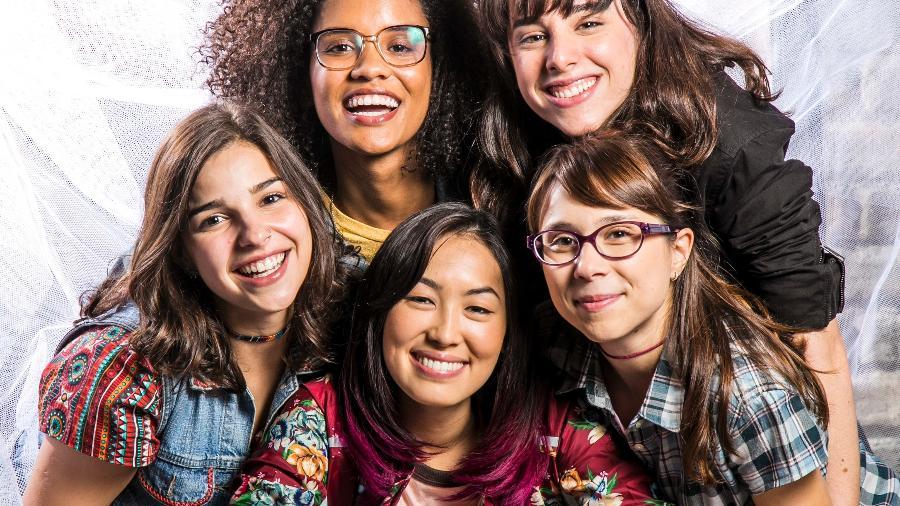 Ellen (Heslaine Vieira), Lica (Manoela Aliperti), Keyla (Gabriela Medvedovski), Tina (Ana Hikari) e Benê (Daphne Bozaski) - Sergio Zalis/TV Globo