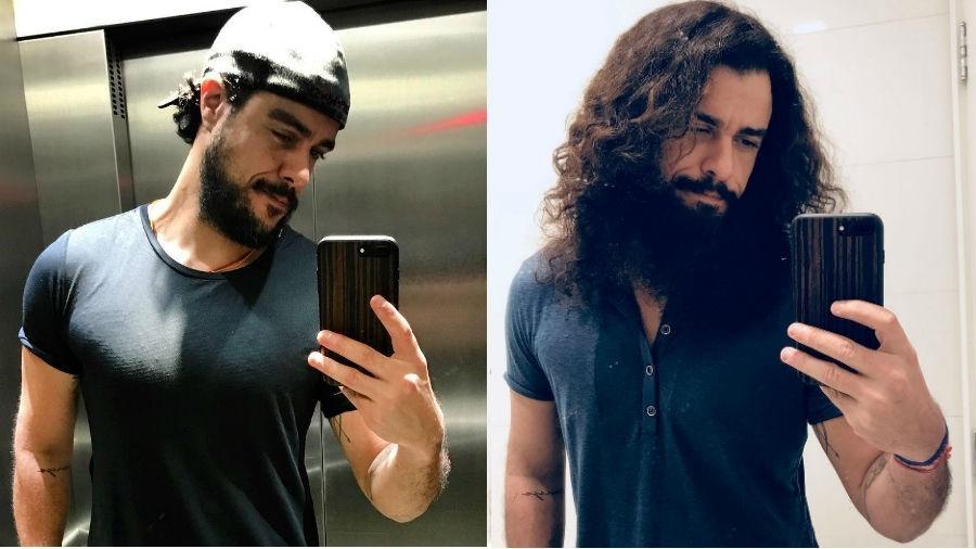 Joaquim Lopes antes e depois de transformação para personagem - Reprodução/Instagram