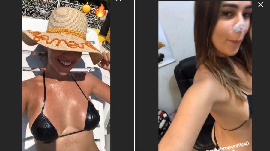 Vivian Amorim usa biquíni de fita para se bronzear - Reprodução/Instagram