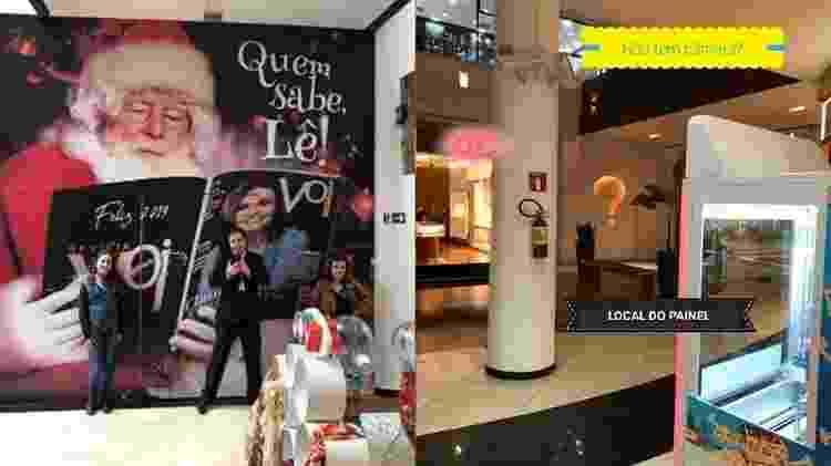 Claudia Rodrigues em frente ao painel onde foi impedida de tirar foto e, na imagem ao lado, mostra que existem câmeras no local - Reprodução/Facebook - Reprodução/Facebook