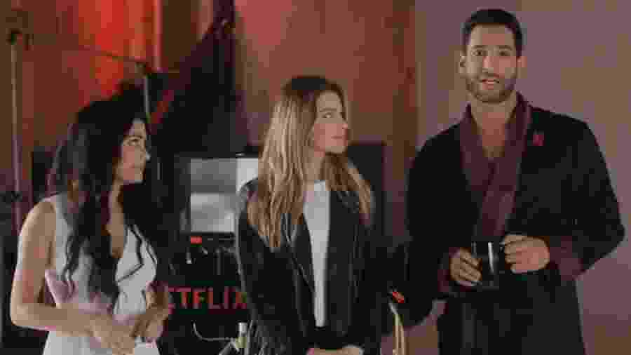 """Os astros de """"Lucifer"""" em vídeo para a Netflix - Reprodução/Twitter"""