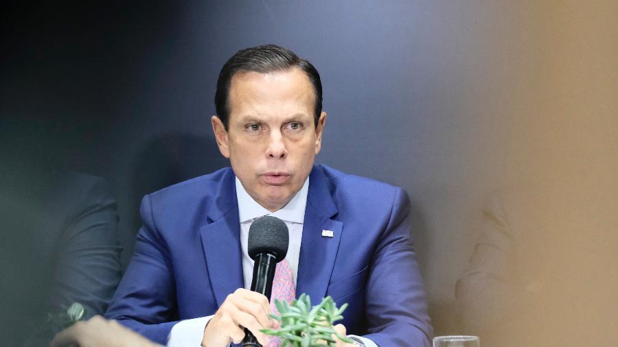 O governador João Doria durante coletiva de imprensa sobre o coronavírus - JOÃO ALVAREZ/FOTOARENA/ESTADÃO CONTEÚDO
