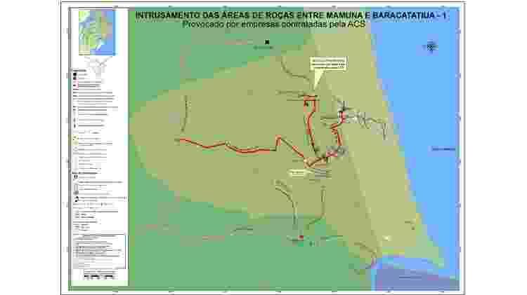 Mapa mostra área de roça de Baracatatiua e Mamuna, comunidades quilombolas de Alcântara (MA) - Divulgação - Divulgação