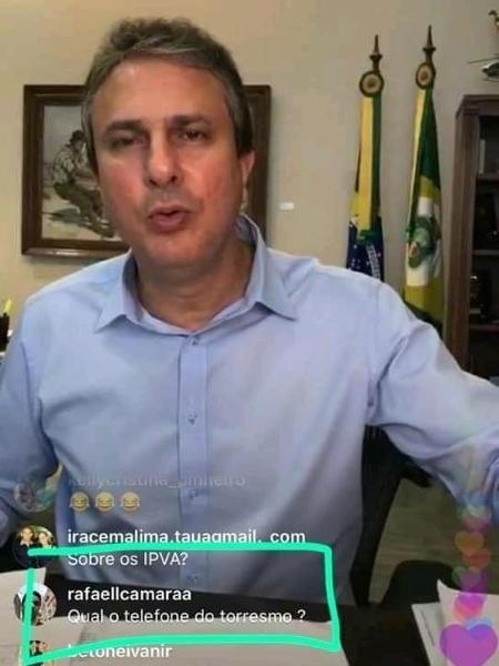 Live no Instagram de Camilo Santana, governador do Ceará, serviu como ponte para homem vender torresmo e divertiu a web - Reprodução/Facebook