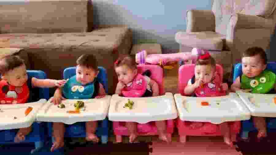 As cinco crianças, que nasceram de uma gestação natural e estão com oito meses - Arquivo Pessoal