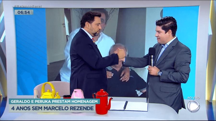 """Geraldo Luis e Bruno Peruka se despediram no """"Balanço Geral Manhã"""" - Reprodução/Playplus"""