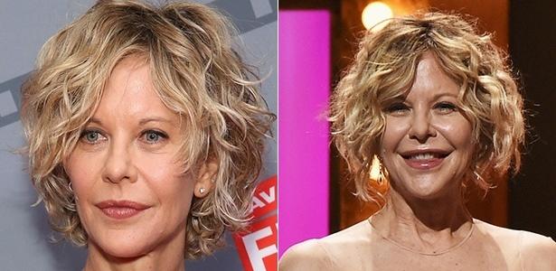 Meg Ryan no ano passado (à esq.) e recentemente no Tony Awards, nos Estados Unidos - Getty Images