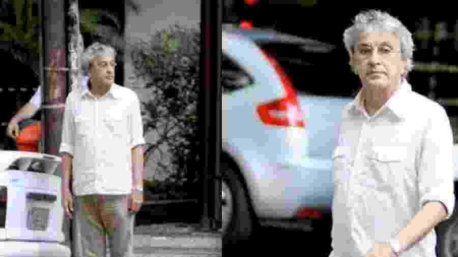 """Caetano Veloso se prepara para atravessar a rua no Rio em 2011: momento """"definidor"""" do jornalismo - Reprodução"""