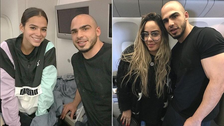 Bruna Marquezine e Rafaella Santos posam com fã em voo para a Rússia - Reprodução/Instagram