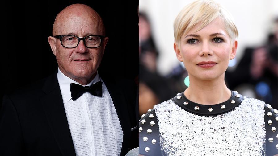 O pai do ator Heath Ledger, Kim Ledger, e a atriz Michelle Williams, sua ex - Getty Images