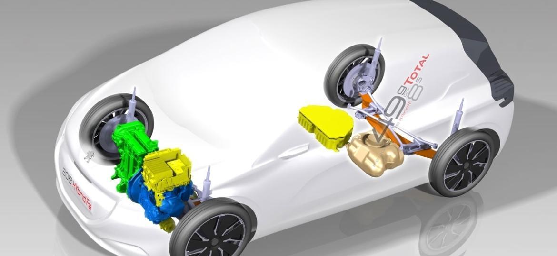 Projeto para Brasil seria urbano, com porte e potência reduzidos (na imagem, o conceito francês Peugeot 208 Hybrid FE) - Divulgação