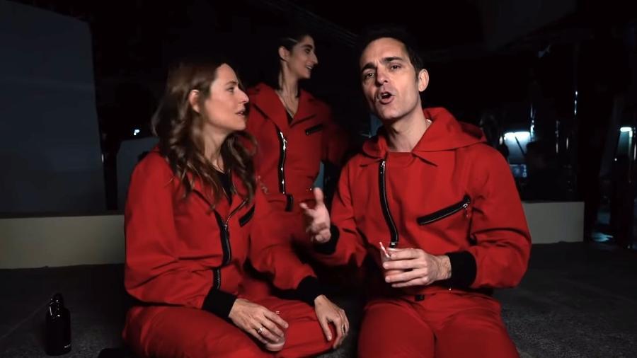 O ator Pedro Alonso, o Berlim, surge nos bastidores de gravação da terceira parte de La Casa de Papel - Reprodução/YouTube