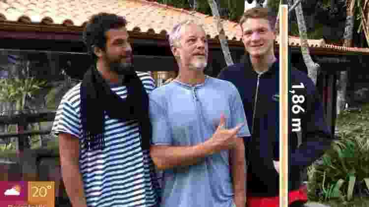 Marcello Novaes é mais baixo que os filhos, Diogo e Pedro - Reprodução/Globoplay - Reprodução/Globoplay