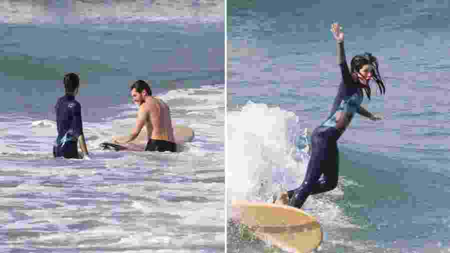 Camila Queiroz em aula de surfe com Klebber Toledo - Reprodução/Instagram