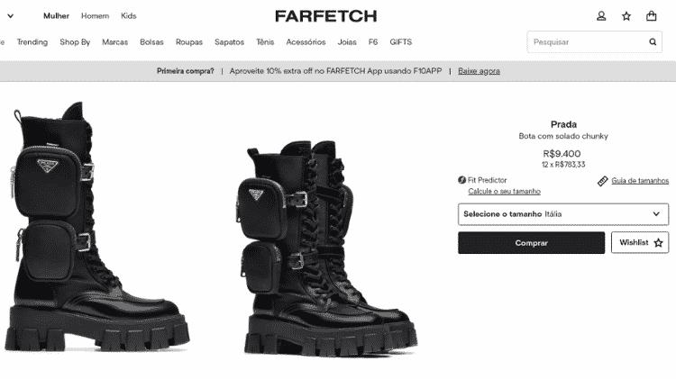 bota prada flay - Reprodução/Farfetch - Reprodução/Farfetch