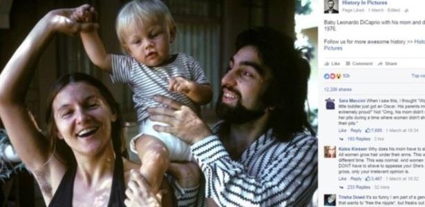 Leonardo DiCaprio com os pais, em foto de 1976 publicada pela mãe do ator, Irmelin - Reprodução/Facebook