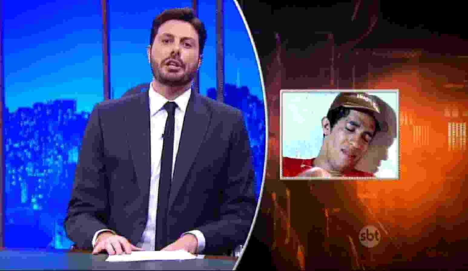 """18.abr.2016 - Danilo Gentili faz piada com o cuspe de Jean em Bolsonaro. """"Ficou claro que Jean cospe e não engole"""" - Reprodução /SBT"""