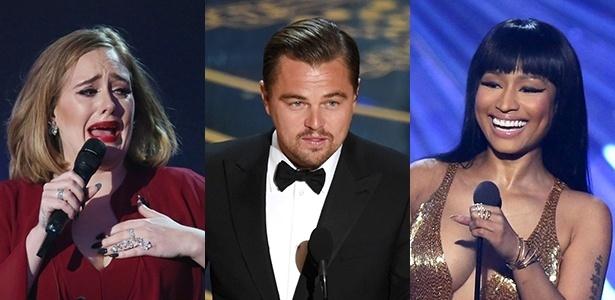 """Adele, DiCaprio e Nicki Minaj estão na lista dos 100 mais influentes da """"Time"""" - Montagem UOL"""