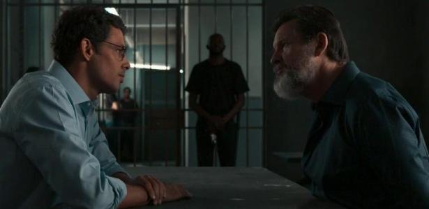"""Em """"Justiça"""", Maurício (Cauã Reymond) confronta Antenor (Antonio Calloni) na cadeia - Divulgação/TV Globo"""